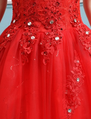 Red Wedding Dresses Lace Applique Beaded Princess Ball Gowns Train Bridal Dress_7