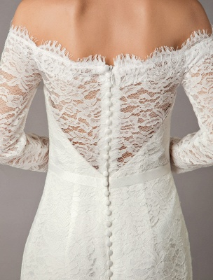 Lace Wedding Dresses Off The Shoulder Long Sleeve Beaded Sash Bridal Gowns With Train_8