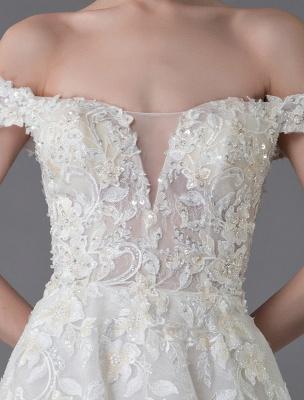 Robes de mariée d'été hors de l'épaule dentelle champagne appliques perles maxi plage robes de mariée_9