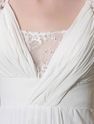 Beach Wedding Dresses V Neck Chiffon Summer Bridal Dress Chiffon Flowers Beading Pleated Floor Length Wedding Gown Exclusive_6