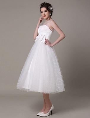 Vestido de novia de tul Sin tirantes Una línea Hasta el té Vestido de novia con lazo Exclusivo_5