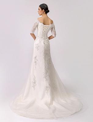 2021 Vintage inspiré de l'épaule robe de mariée en dentelle sirène exclusive_5