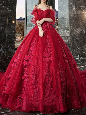 Red Princess Wedding Dresses Tulle Half Sleeves Bridal Gown Applique Evening Party Dresses_1