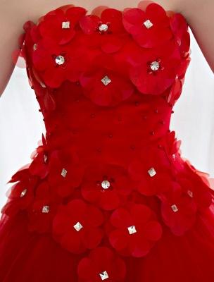 Elfenbein Brautkleider Prinzessin Ballkleider Brautkleid 3D Blumen Trägerlos Perlen Frauen Festzug Kleider_7