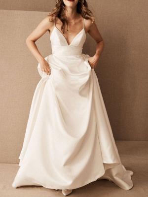 Simple Wedding Dress Satin V Neck Sleeveless Pockets A Line Bridal Gowns_1