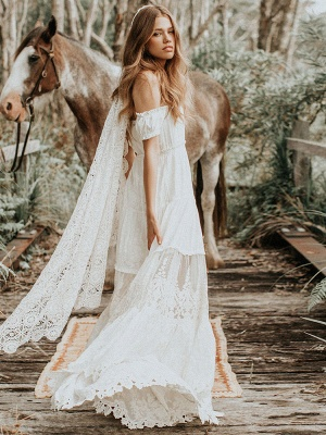 Boho Brautkleid 2021 Spitze schulterfrei A-Linie bodenlanges Brautkleid aus Spitze_6