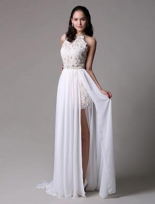 White Prom Dresses 2021 Long Ivory Halter Backless Evening Dress Lace Applique Beading Chiffon Split Party Dress_3