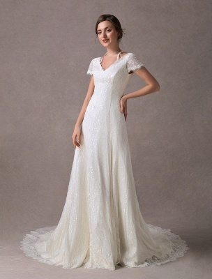 Lace Wedding Dresses Ivory V Neck Short Sleeve A Line Straps Bridal Gowns With Train Exclusive_4