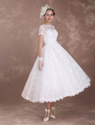 Lace Wedding Dresses Short Sleeve 1950'S Vintage Bridal Dress Sweetheart Illusion Ivory A Line Tea Length Wedding Reception Dress Exclusive_4