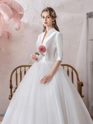 Vintage Wedding Dresses Princess High Collar Half Sleeve Floor Length Tulle Traditional Bridal Gowns_7