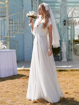 White Simple Wedding Dress Lace V-Neck Short Sleeves Backless Ruffles A-Line Natural Waist Long Bridal Gowns_5