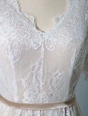 Einfaches Hochzeitskleid 2021 V-Ausschnitt A-Linie Kurzarm Tiefes V Backless Lace Brautkleider_7