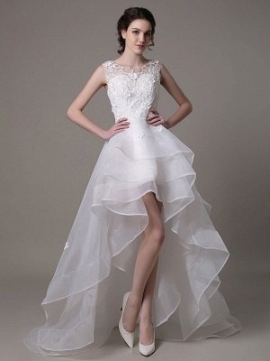 Asymmetrical Organza Wedding Dress High Low A-Line With Lace Beading Flower Exclusive_1