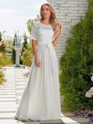 Weißes Einfaches Brautkleid Chiffon Jewel Neck Kurze Ärmel Schärpe A-Linie Lange Brautkleider_3