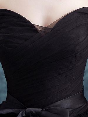 Robes de mariée gothiques Tulle princesse silhouette manches courtes taille naturelle robe de mariée plissée au sol_3