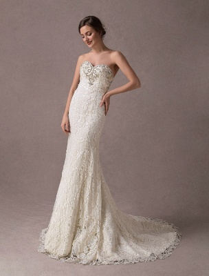 Mermaid Wedding Dresses Lace Strapless Ivory Sweetheart Beaded Bridal Dress With Train Exclusive_5