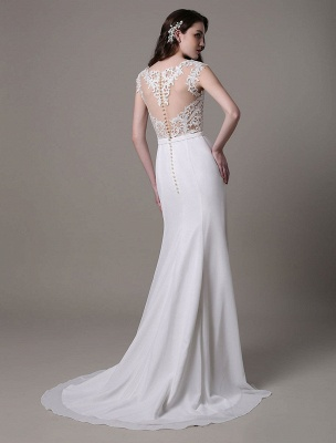 Vintage Wedding Dress Lace And Chiffon Sheath With Stunning Bateau Illusion Neckline And Illusion Back Exclusive_6