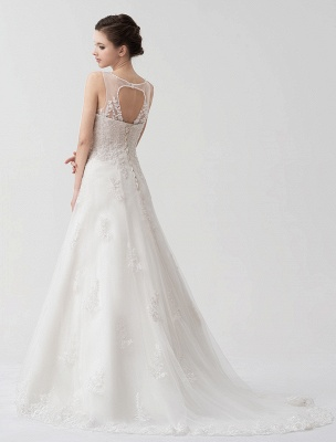 Sweep Ivory Lace Sweetheart A-Line Brides Wedding Dress With Adjustable Strap_4