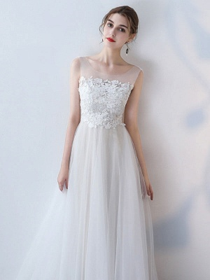 Simple Wedding Dress 2021 A Line Jewel Neck Sleeveless Bows Lace Tulle Bridal Dresses_4