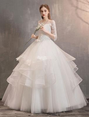 Elfenbein Brautkleider Tüll Illusion Ausschnitt Halbarm Bodenlangen Prinzessin Brautkleid_2