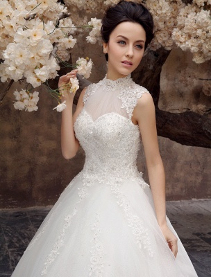 Wedding-Dresses-Ball-Gown-Bridal-Dress-Lace-Applique-Open-Back-High-Collar-Sequins-Rhinestones-Floor-Length-Bridal-Dress_6