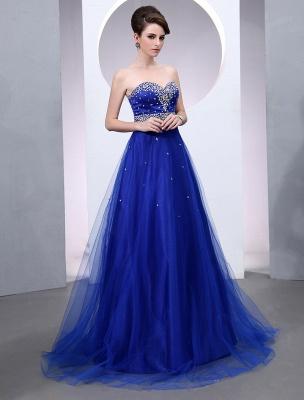 Blaues Abendkleid 2021 Langes Tüll Brautkleid Royal Blue Backless Strapless Sweetheart Court Train Brautkleid_2