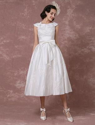 Vintage Brautkleid Satin Kurzes Brautkleid Spitze Perlen Tee Länge Empfang Brautkleid Abnehmbare Schleife Schärpe Exklusiv_1