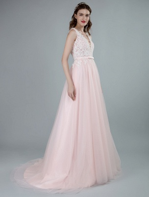 Wedding Dresses A Line Sleeveless Bows V Neck Bridal Dresses With Court Train Exclusive_6