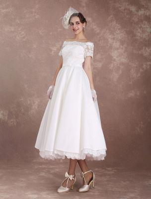 Vestidos de novia cortos Vestido de novia vintage Años 50 Bateau Encaje Manga corta Marfil Faja Hasta el té Vestido de recepción nupcial Exclusivo_5