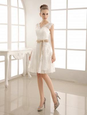 Ivory Simple Wedding Dresses 2021 Lace Applique V Neck Ribbon Sash Short Bridal Dress Exclusive_1