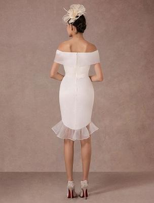 Kurzes Brautkleid Meerjungfrau Off-The-Shoulder Satin Vintage Brautkleid Rüschen Mini Braut Sommer Brautkleider 2021 Exclusive_6