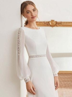 Vestido de novia simple con tren Gasa Halter Mangas largas Encaje Una línea Vestidos de novia_3