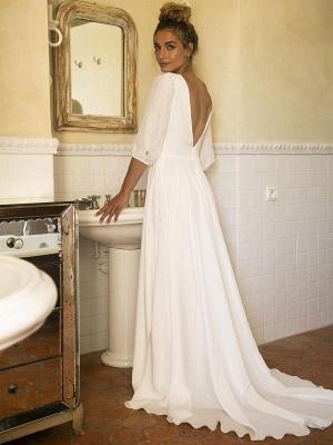 Weiße Brautkleider mit Zug A-Linie bodenlangen 3/4 Ärmeln Plissee V-Ausschnitt Brautkleider_2