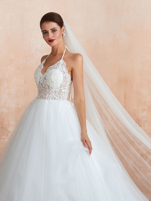 Wedding Dress 2021 Ball Gown Halter Sleeveless Floor Length Lace Tulle Bridal Gowns With Train_6