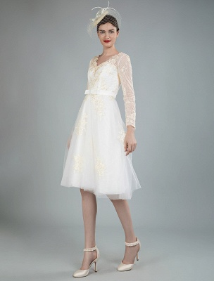 Short Wedding Dress Tulle Knee Length V Neck Long Sleeves A Line Natural Waist Bridal Gowns Exclusive_4
