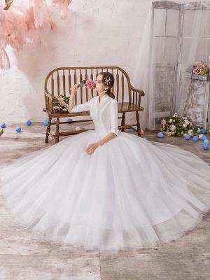 Vintage Wedding Dresses Princess High Collar Half Sleeve Floor Length Tulle Traditional Bridal Gowns_5