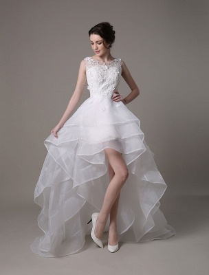 Asymmetrical Organza Wedding Dress High Low A-Line With Lace Beading Flower Exclusive_2