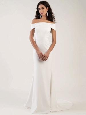 White Simple Wedding Dress Bateau Neck Sleeveless Natural Waist Backless Satin Fabric Long Mermaid Bridal Gowns_4