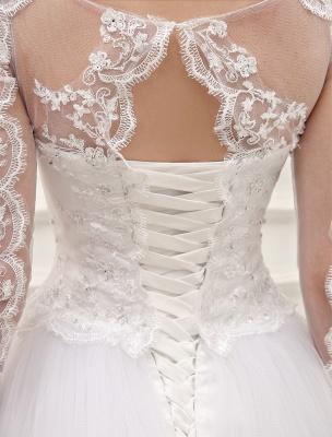 Prinzessin Brautkleider Langarm Brautkleid Spitze Applique Pailletten Perlen Illusion Ballkleid Brautkleid Mit Zug Exklusiv_8