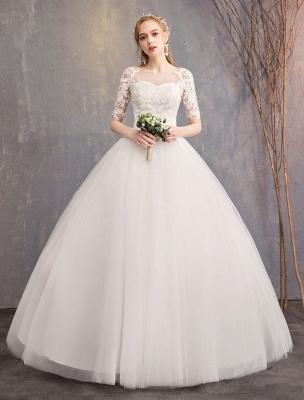 Vestidos de novia de encaje Marfil Escote de ilusión La mitad de manga Hasta el suelo Vestido de novia de princesa_1