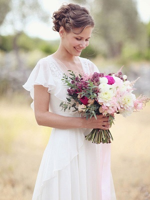 Einfaches Hochzeitskleid A-Linien-Ausschnitt Ärmellose Applikationen Chiffon Brautkleider_2