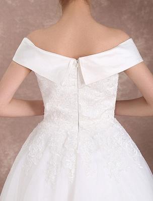Vintage Wedding Dresses Off The Shoulder Short Bridal Dress 1950'S Lace Applique Beaded Tea Length Wedding Reception Dress Exclusive_9