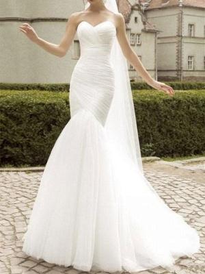 Robe de mariée col en cœur sans manches taille naturelle plissée train train robes de mariée_1