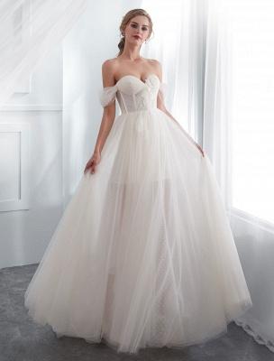 Brautkleider Tüll Elfenbein Schulterfrei Sweetheart Beach Brautkleid mit Schleppe_4