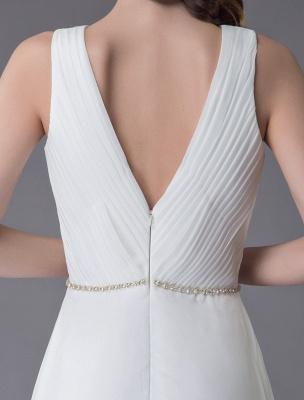 Beach Wedding Dresses Chiffon V Neck High Low Sash Summer Bridal Dress Exclusive_10