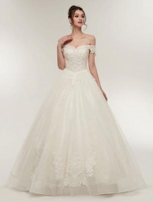 Princess Wedding Dresses Off The Shoulder Ivory Bridal Dresses Lace Applique Tulle Floor Length Ball Gowns_2