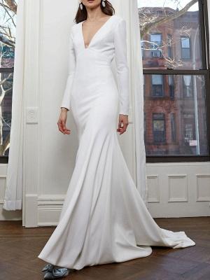 Einfache Brautkleider mit langen Ärmeln V-Ausschnitt Meerjungfrau-Hochzeitsfest-Kleid_4