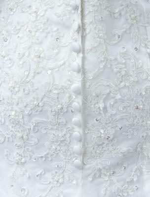 White Wedding Dress Lace Backless Bridal Dresses Rhinestones Beaded Mermaid Wedding Gown_7