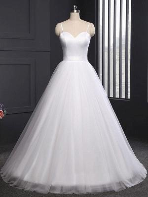 Simple Wedding Dress Tulle Sweetheart Neck Sleeveless Sash A Line Bridal Dresses_4