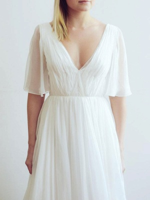 Simple Wedding Dress V Neck Half Sleeves Pleated A Line Floor Length Bridal Dresses_6